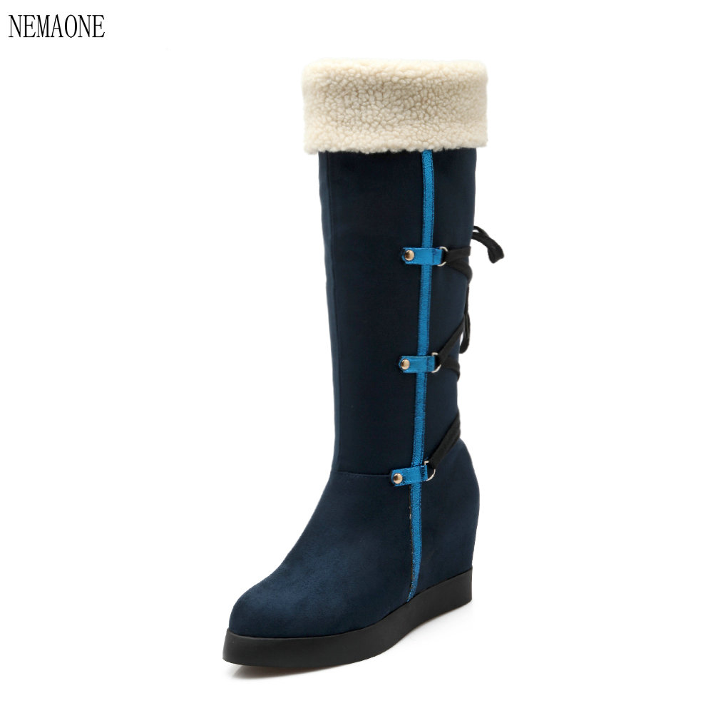 NEMAONE size 34-39 Russia snow boots thick fur inside winter keep warm women boots high boots black<br>