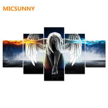 MICSUNNY 5 Pieces/set Angeles Girls Anime Demons Canvas Painting Children'S Room Decoration Print Canvas Pictures Frameless(China)