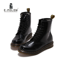 Enamelled Genuine Leather Martin Boots Man Unisex Fashion Front-Tied Motorcycle Boots Damping Thick Heel With Car Suture(China)