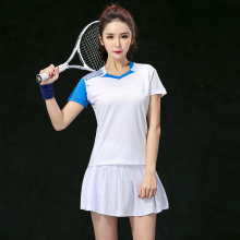2017 Badminton clothes sets Women's Jerseys , Female Tennis sets  ,Table Tennis sets , Tennis shirt + skorts White set 5062B