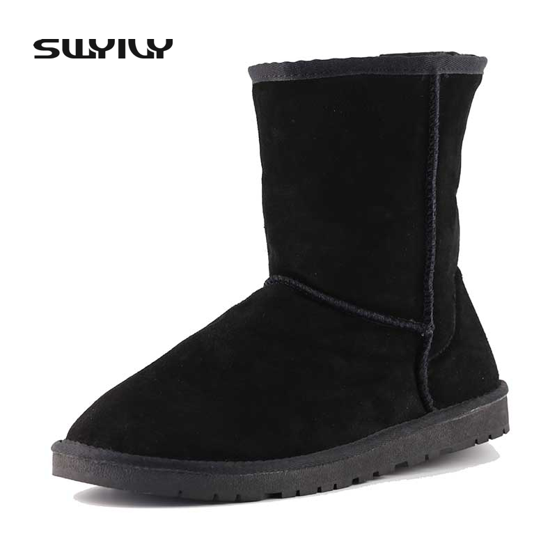 Winter Shoes Woman Warm Flat Slip On Snowboots Mid-calf Classic Nature Leather Boots Pure Color Botas Russia Size 35-39<br>