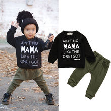 0-3Y Newborn Toddler Infant Kid Baby Boys Clothes Long Sleeve Mama Sweatshirt Top +Pants 2pcs Outfits Kids Clothing Set(China)