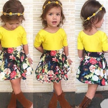 2017 new  European style girls clothing set kids dress suit shirt+skirt 2 pcs childrens summer set retail BB107