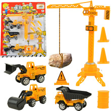 Baby toys 4pcs/lot included 3 pull back engineering vehicle truck boy toys excavator Road roller crane tower children model toys(China)