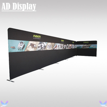 33ft And 10ft Width Trade Show Booth Portable Tension Fabric Display Backdrop With Single Side Printed Banner,Easy Fabric System