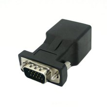 Extender VGA RGB HDB 15pin Male to LAN CAT5 CAT6 RJ45 Network Cable Female Adapter Connector