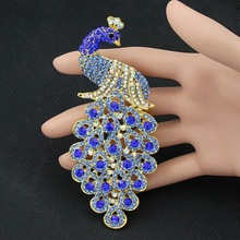 Drop Shipping  Brooches Multicolor Rhinestone Blue Peacock Brooch Wedding Pins Fine Jewelry Brooch-0006