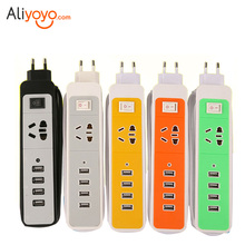Power Socket Plug Strip Charging With 4 USB Port Extension Socket Plug Safety Electrical Plug Sockets Adapter Home Electronics