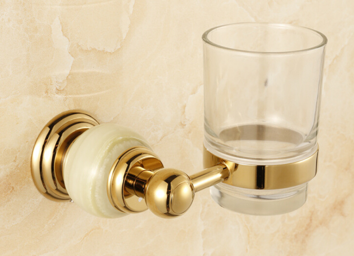 Free Shipping stone + Brass+Glass Bathroom Accessories Gold Single cup Tumbler Holders,Toothbrush Cup Holders CY001S<br>