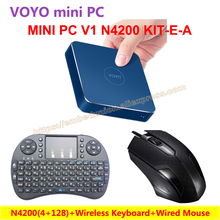 VOYO VMac Mini PC N4200(4+128) Intel Apollo Lake License Windows 10 Pocket PC+Wireless Keyboard+Wired Mouse=VOYO KIT-E-A