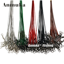 Anmuka 50pcs/set 5 Colors Stainless Steel Coated Fishing Trace Lure Wire Spinner Leader Hooks Swivel Interlock Snaps(China)