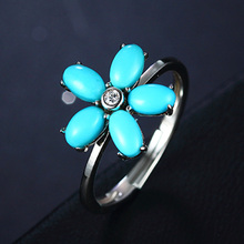 Turquoise Flower Ring 100% Fine 925 Sterling Silver Ring Adjustable White Gold Plated Party Cocktail Ring for Girl