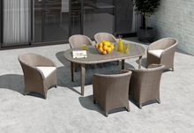 7 Pieces Modern Dining Table Sets Oval garden wicker patio furniture sets