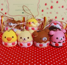 $10 free shipping 5cm original kawaii squishy Rilakkuma puff cake queeze toys cell phone handbags charm straps squishies bread(China)