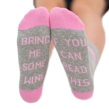 2017 new arrival Women Custom Wine socks Letter Printed If You can read this Bring Me a Glass of Wine Socks Autumn Winter Spring(China)