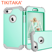 Shockproof Phone Cases For iPhone 6 6S 7 Plus Case Durable PC+TPU 3 Layers Hybrid Full Body Protect Anti-Knock Armor Phone Shell(China)