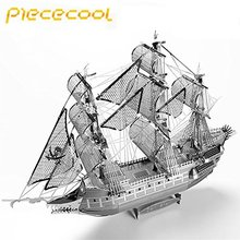 Piececool The Flying Dutchman 3D Laser Cutting DIY Metallic Boat Model jigsaw 3D Metal Puzzle Educational Diy Jigsaws Gifts(China)