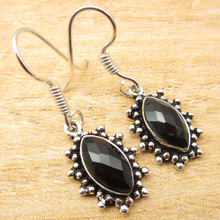 "Silver Plated Real BLACK ONYX Earrings 1 3/8"" SHANTIINTERNATIONAL BRAND NEW(China)"
