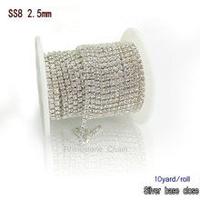True glass crystal ss8 rhinestone cup chain 10 yards/roll clear rhinestones with silver base AAA quality  rhinestones Chain