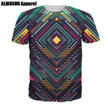 ALMOSUN Geometric After Effects All Over Print T-Shirt Short Sleeve Earth Summer Casual Street Wear Top Tee Men Women Drop Ship(China)