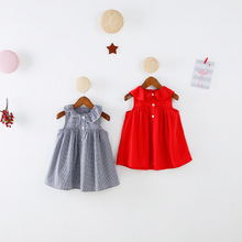 2017 Special Design Girls Dress Cotton Pattern Ruffles Sleeve Plaid Princess Baby Costume Children Clothes Girls red Dresses