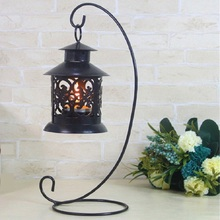 Romantic Iron Wedding Candle Holder Candlestick Glass Ball Lantern Cabin Micro Landscape Hanging Stand Home Party Decor P25(China)