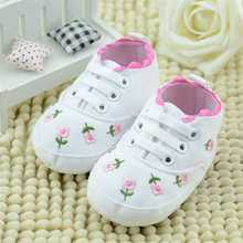 White Baby Girls Shoes Infant Toddler Flower Embroidered Soft Sole Shoes Baby Girls First Walkers Lace Anti-Slip Shoes for 0-18m