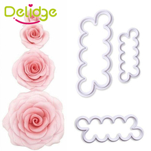 Delidge 3 pcs/set Rose Flower Cake Molds Plastic White Rose Flower Fondant Cutter Cake Decorating Molds Biscuit Cutter