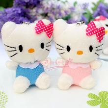 Wholesale 20pcs/lot Colored Hello Kitty Plush Pendant Soft Stuffed animals Bouquets of toys Joint hello kitty Toys For Keychain
