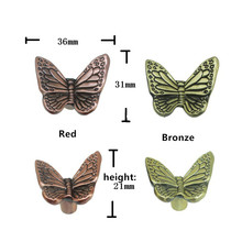 Bulk Vintage Furniture Handle Butterfly Knobs and Handles Door Zinc Alloy Handle Cupboard Drawer Kitchen Pull Knob Hardware,20PC(China)