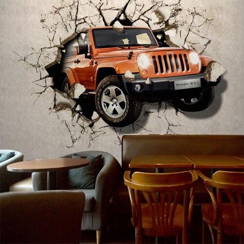 Car breaking wall 3D personality wallpaper Office Restaurant Bar wallpaper TV background wall bedroom large murals<br><br>Aliexpress