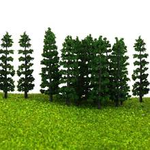 1/100 20Pcs/set Green Fir Trees Model Train Railway Forest Street Scenery Layout For Sand Table Landscape Model Decor Toys(China)
