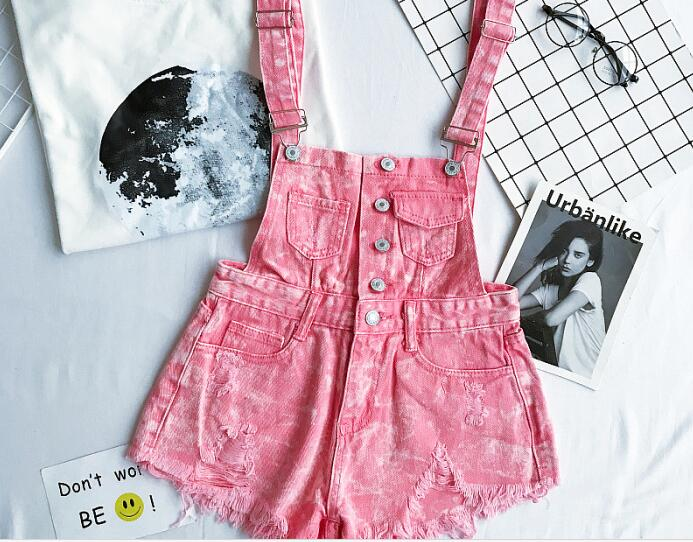 New Collection Summer Korean Loose Women Denim Jumpsuit High-waisted Ripped Hole Wavy Edge Jumpsuit Fashionable Suspenders Pants6