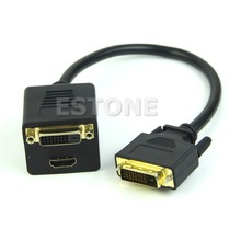 New Arrival for NEW DVI Splitter 1 to 2 Port HDMI Female + DVI 24+1 Y Cable Adapter For PC HDTV