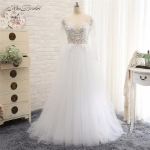 Sexy Backless Wedding Dresses Vestido de Noiva 2017 A Line Long Sleeve Bead Lace Appliques Bridal Gown Robe de Mariee