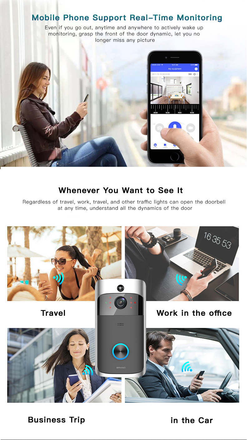 09 Wireless Doorbell Ring Chime Door Bell Video Camera WiFi IP 720P Waterproof IR Night Vision Two Way Audio