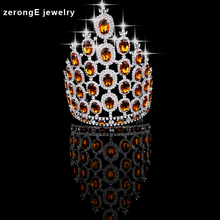 zerongE jewelry 9.0'' big tall pageant orange crystal crown silver Regal Sparkly Rhinestones hair Tiaras And Crown for women(China)