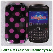 1PCS Popular Polka Dots Candy Soft TPU Skin Pouch Cover Case for Blackberry Curve 9220 9320 Phone Bags Free(China)