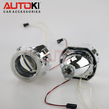 Free Shipping 2.5 inches Mini HID Bi xenon Projector Lens+ Xenon Bulb+ CCFL Angel Eye Halo for Car Headlight Retrofit Kit(China)