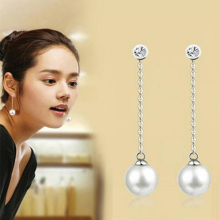 TOMTOSH 2016 New fashion crystal long silver chain tassel stud earrings round temperament pearl eardrop earrings