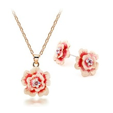 Chinese Cloisonne Pink Enamel Necklace Earrings Rose Flower Jewelry Sets 5Sets/lot Free Shipping