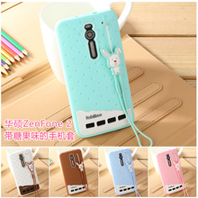 Fabitoo Cartoon cute silicon case for ASUS Zenfone 2 ZE551ML girl ice cream soft silicone shell back cover with lanyard