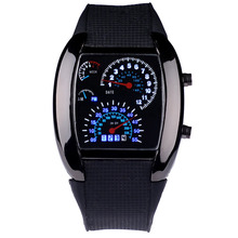 Relogio Masculino Men Sports Watches Fashion Design Race Speed Car Dot Blue Led Digital Watches Rubber Strap Electronic Watch