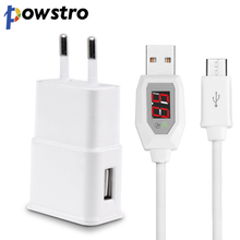 Powstro 2A fast wall charger + Digital LCD Display Micro USB Data Charging Voltage Current Display for Android Smart Phones
