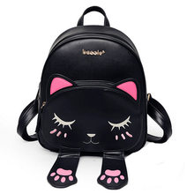 Hot Brand Lovely Cat Leather Backpacks Women Shoulder Bags School Teenage Girls Travel Laptop Bagpack Mochila High Quality Li742