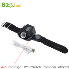 4 speed Multifunctional waterproof sports watch flashlight LED torch lamp light Laser Wrist watch hight medium low flash sos