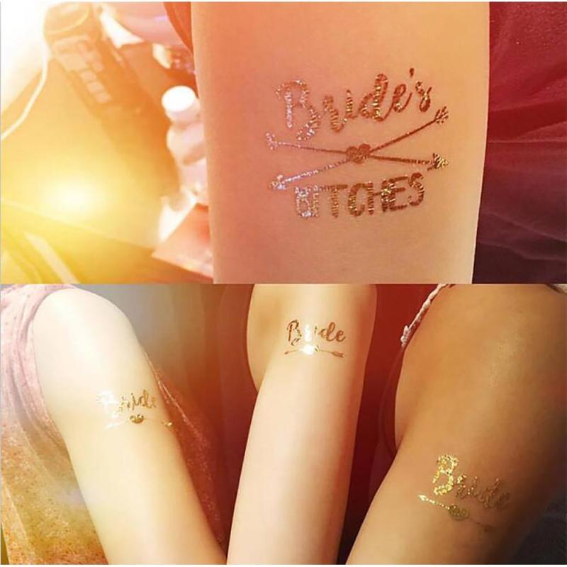 1Pc Bride Temporary Tattoo Bachelorette Party bride Flash Tattoos Creative Gold Bridesmaid bridal shower wedding decoration Z3 22