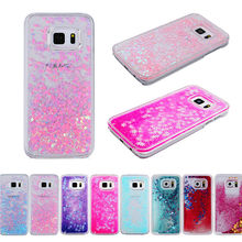 Dynamic Liquid Glitter Sand Love Heart Bling Back Case Cover For Samsung Galaxy S6 S7 edge plus edge+ S8 Cell Phone fundas(China)