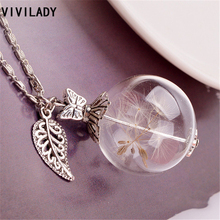 VIVILADY Trendy Dandelion Seed Glass Drifting Bottle Pendant Necklace Women Chain Ball Heart Wish Moon Fairy Flower Jewelry Gift(China)