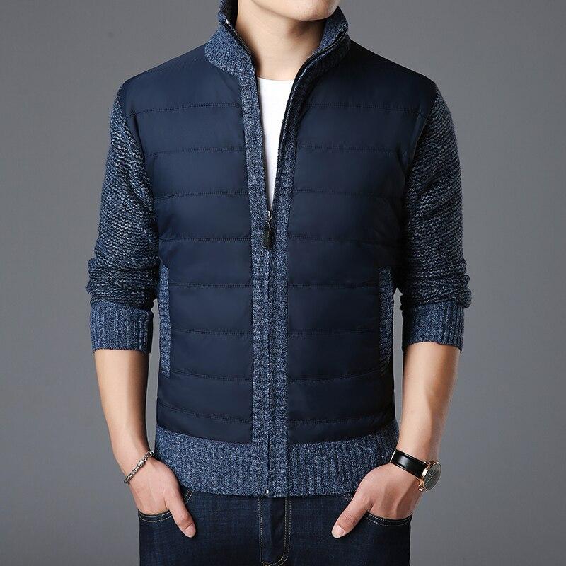 Korean Men High Stand Collar Slim Thicken Warm Knit Sweater Fashion Clothes Coat